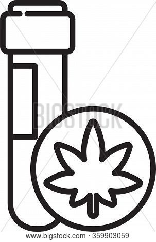 Black Line Chemical Test Tube With Marijuana Or Cannabis Leaf Icon Isolated On White Background. Res