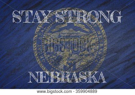 Covid-19 Warning. Quarantine Zone Covid 19 On Nebraska ,flag Illustration. Coronavirus Danger Area,