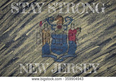 Covid-19 Warning. Quarantine Zone Covid 19 On New Jersey ,flag Illustration. Coronavirus Danger Area