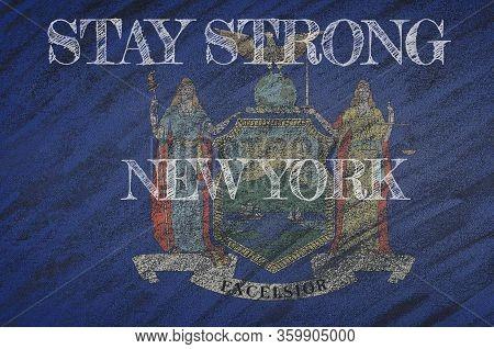 Covid-19 Warning. Quarantine Zone Covid 19 On New York ,flag Illustration. Coronavirus Danger Area,