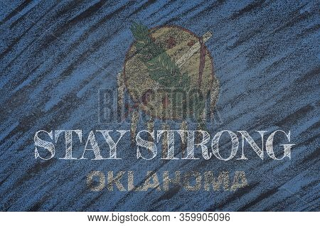Covid-19 Warning. Quarantine Zone Covid 19 On Oklahoma ,flag Illustration. Coronavirus Danger Area,