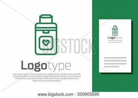 Green Line Cooler Box For Human Organs Transportation Icon Isolated On White Background. Organ Trans