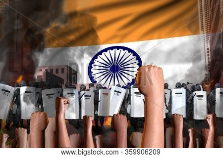 Protest In India - Police Squad Stand Against The Demonstrators Crowd On Flag Background, Revolt Fig