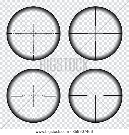 Sniper Scope Crosshairs View. Sniper Rifle Aim Isolated On Transparent Background. Target Aim And Ai