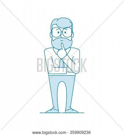 Character Is A Man Stands Pondering A Problem. A Gesture Of Pondering Or Thinking. Manager Or Office