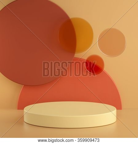 Abstract Warm Pastel 3d Rendering Scene, Matte Glass Circles And Cylinder Podiums Background. Square