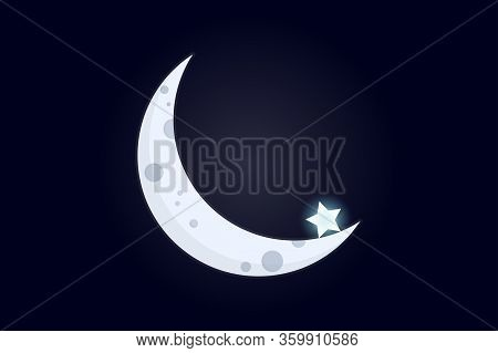 Crescent With A Star. Part Of The Moon Against The Backdrop Of Cosmic Void With A Single Star At Its