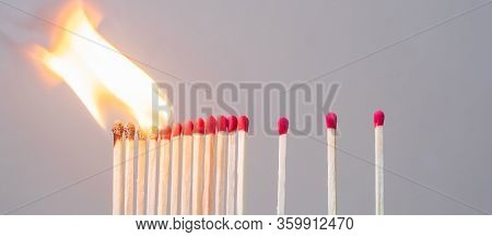 Matchsticks Burning And Gap Distance Showing Preventative Containing Coronavirus Pandemic With Copy