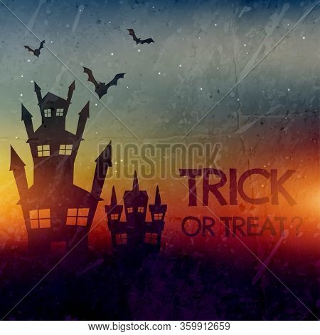 Haunted Halloween Castle With Bats Vector Design Illustration