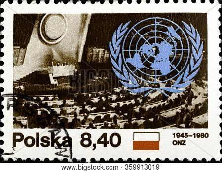 02 11 2020 Divnoe Stavropol Territory Russia The Postage Stamp Poland 1980 The 35th Anniversary Of T