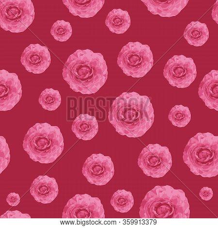 Pink Ranuncules Repeat Pattern Print Background Design