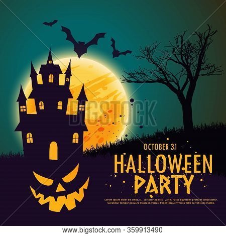Happy Halloween Background With Haunted House Vector Design Illustration