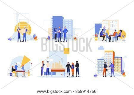 Builders And Architects Set Concept. Collection Men Women Builders, Architects Engineers Working On