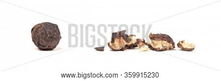 Whole Peper Next To A Crushed One - Black - Isolated On White