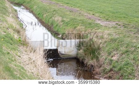 Meadow With A Ditch In The Netherlands, Man Made Waterworks