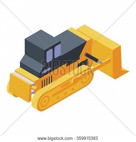 Construction Bulldozer Icon. Isometric Of Construction Bulldozer Vector Icon For Web Design Isolated