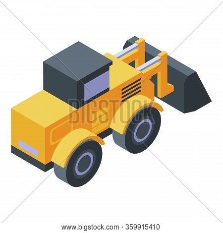 Wheeled Bulldozer Icon. Isometric Of Wheeled Bulldozer Vector Icon For Web Design Isolated On White