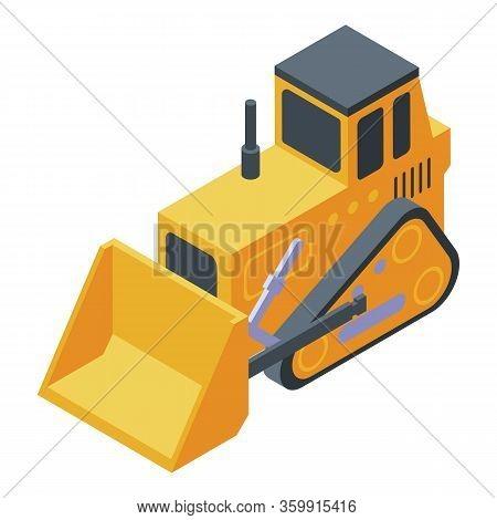 Cawler Bulldozer Icon. Isometric Of Cawler Bulldozer Vector Icon For Web Design Isolated On White Ba