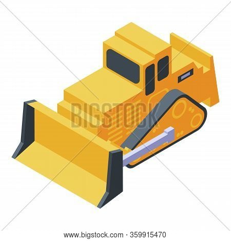 Yellow Cawler Bulldozer Icon. Isometric Of Yellow Cawler Bulldozer Vector Icon For Web Design Isolat