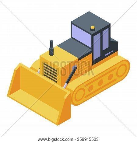 Dozer Bulldozer Machine Icon. Isometric Of Dozer Bulldozer Machine Vector Icon For Web Design Isolat