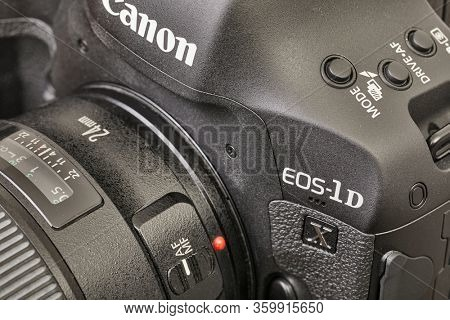 BUDAPEST, HUNGARY - CIRCA 2017: Canon EOS 1Dx mark II. The 1D series are Canon's professional DSLR models.