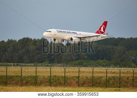 Budapest, Hungary - May 6, 2015: Turkish Airlines airliner landing at Budapest Liszt Ferenc Airport. Turkish Airlines is the fourth-largest carrier in the world by number of destinations.