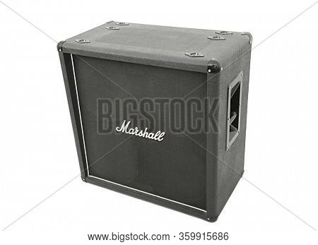 BUDAPEST, HUNGARY - CIRCA 2018: Marshall guitar cabinet with 4x12 speakers. Marshall is one of the leading manufacturers of guitar amplification since 1960.