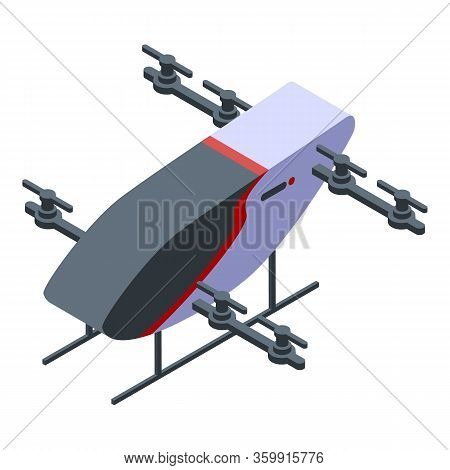 Unmanned Helicopter Icon. Isometric Of Unmanned Helicopter Vector Icon For Web Design Isolated On Wh