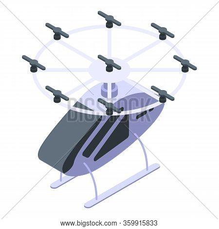 Futuristic Helicopter Taxi Icon. Isometric Of Futuristic Helicopter Taxi Vector Icon For Web Design
