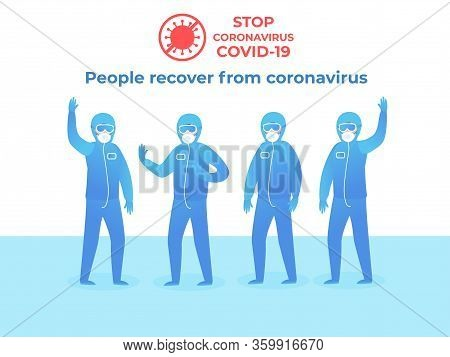 Stop Covid-19. People In Protective Clothing. Blue Suit With Glasses On A White Background. Quaranti