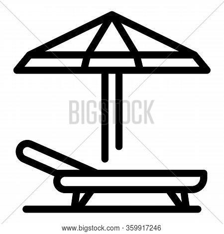 Beach Umbrella Chair Icon. Outline Beach Umbrella Chair Vector Icon For Web Design Isolated On White