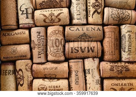 TORONTO, CANADA - April 05, 2020: Wine corks are a stopper used to seal wine bottles. Portugal is the largest producer of corks, followed by Spain, Italy and Algeria