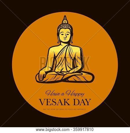 Vesak Day Vector Design Of Buddhism Religion Buddha Holiday. Golden Statue Of Meditating Buddha, Tha