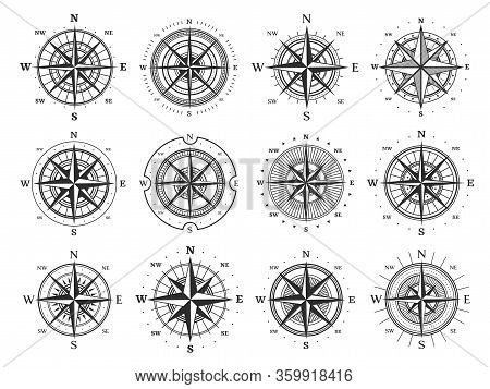 Nautical Compass Wind Rose Vector Icons. Isolated Vintage Symbols Of Marine Maps And Antique Cartogr