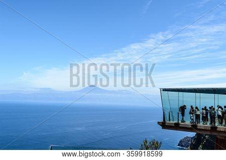Abrante Glass Lookout With Teide Background On La Gomera Island. April 15, 2019. La Gomera, Santa Cr
