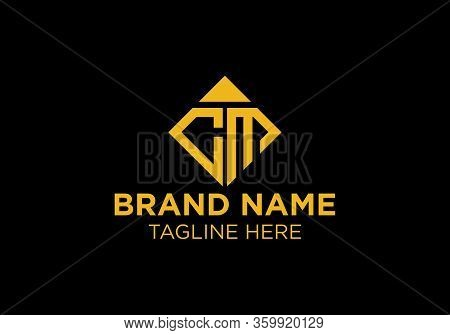 Initial Cm Letter Logo With Crown And Diamond Shape Business Typography Vector Template. Creative Ab