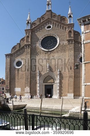 Venice, Italy - June 30 2017: Historic Buildings In Venice. A View Of A Church Building In Venice, I