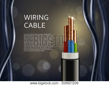 Wiring Cable With Copper Shine Sparks, Vector Poster. Realistic Wire Cable In Cut With Connection Co
