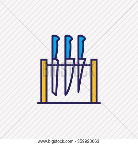 Vector Illustration Of Knife Set Icon Colored Line. Beautiful Kitchenware Element Also Can Be Used A