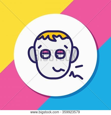 Illustration Of Pathetic Icon Colored Line. Beautiful Emoticon Element Also Can Be Used As Depressio