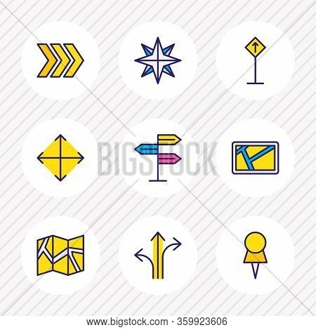 Illustration Of 9 Navigation Icons Colored Line. Editable Set Of Pushpin, Navigator, Arrow And Other