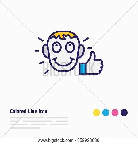 Vector Illustration Of Satisfied Icon Colored Line. Beautiful Emoticon Element Also Can Be Used As A