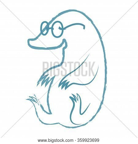 The Linear Illustration Of A Mole Who Sits Wearing Glasses