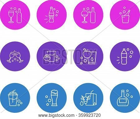 Vector Illustration Of 12 Beverages Icons Line Style. Editable Set Of Brandy, Fresh Juice, Smoothie