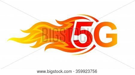5g Logo Font And Fire Flame For Hot Icon, Numbers 5g And Fire Burn For Technology Future, 5g Alphabe