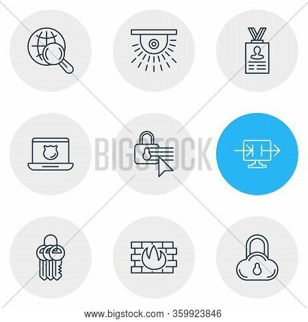 Vector Illustration Of 9 Data Icons Line Style. Editable Set Of Personal Information, Keychain, Secu