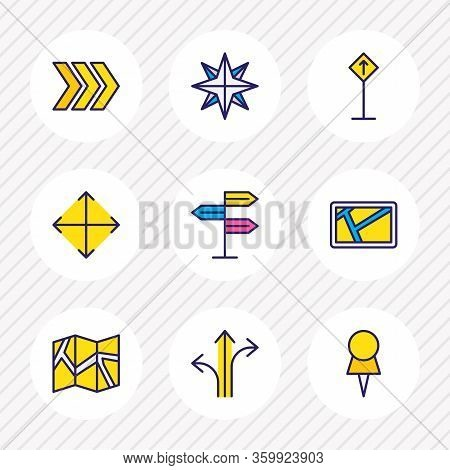 Vector Illustration Of 9 Location Icons Colored Line. Editable Set Of Pushpin, Navigator, Arrow And