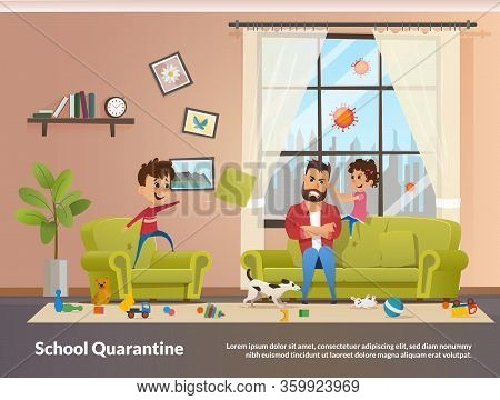 Father Sits With Children Home School Quarantine. Annoyed And Angry Father With Clenched Teeth Sitti