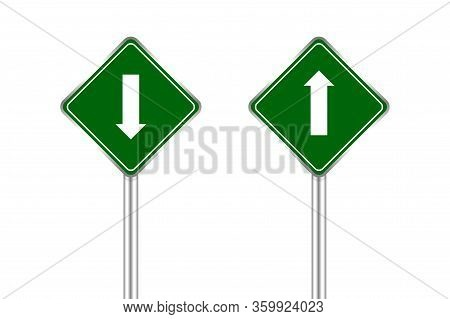 Road Sign Green And White Arrow Pointing Up And Down, Traffic Road Sign Green Isolated On White, Gre