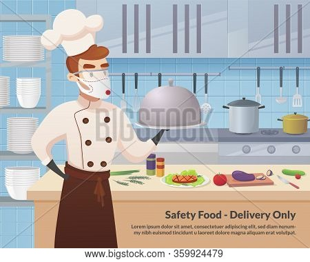 Banner Illustration Safety Food - Delivery Only. Commercial Kitchen With Cartoon Characters Chef Coo